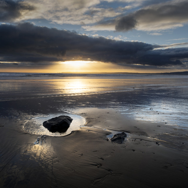 """""""Sunset and wet sand"""" stock image"""