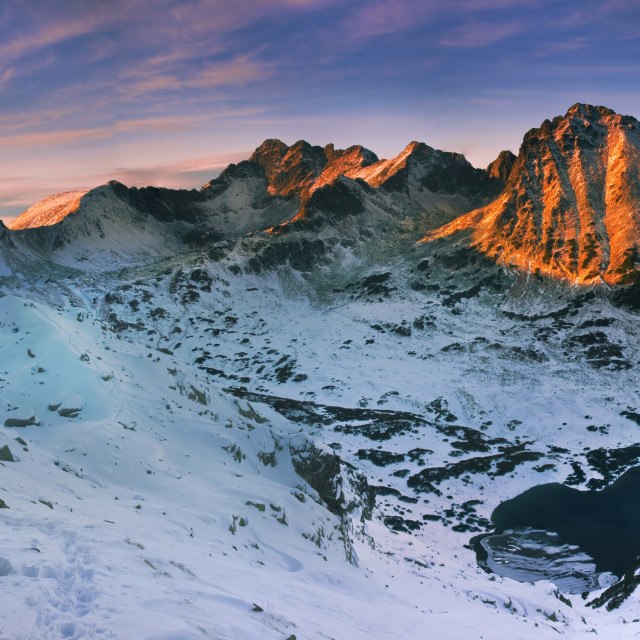 """Panoramic winter view of the tatra mountain"" stock image"