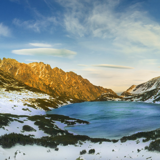 """Panoramic winter view of the five lakes valley"" stock image"