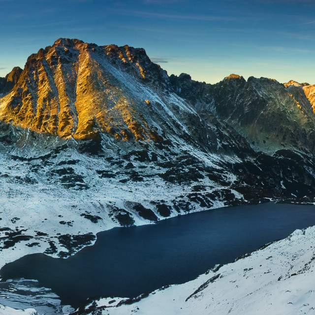 """Panoramic winter view of the five lakes valley in tatra mountain"" stock image"