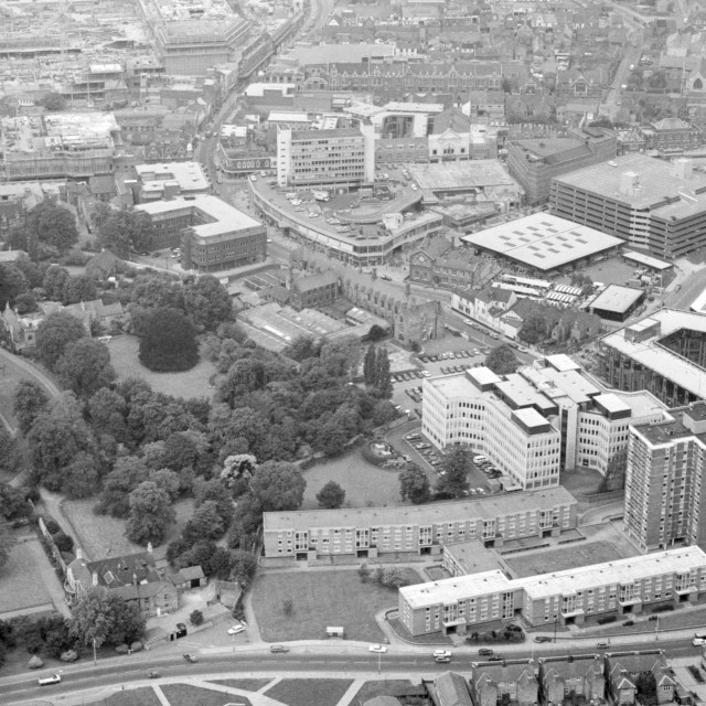 """City Centre from St John's Street (1980)"" stock image"