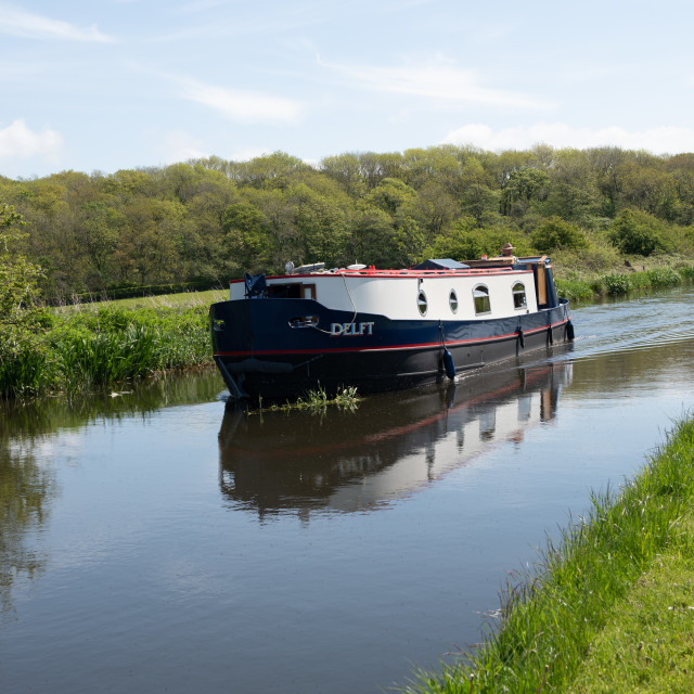 """""""Barge on the Lancaster Canal"""" stock image"""