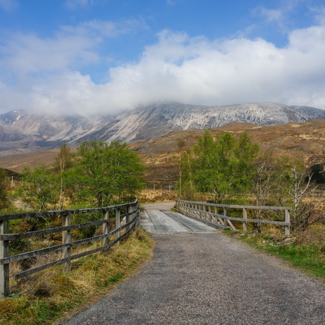 """""""Ben Eighe from road to Coulin Lodge"""" stock image"""