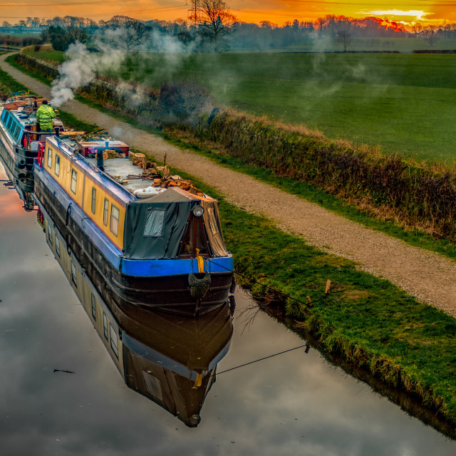 """""""Evening on the canal"""" stock image"""