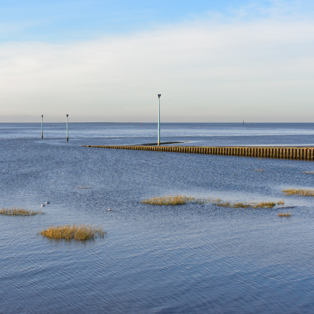 """""""Knott End Slipway and Morecambe bay"""" stock image"""