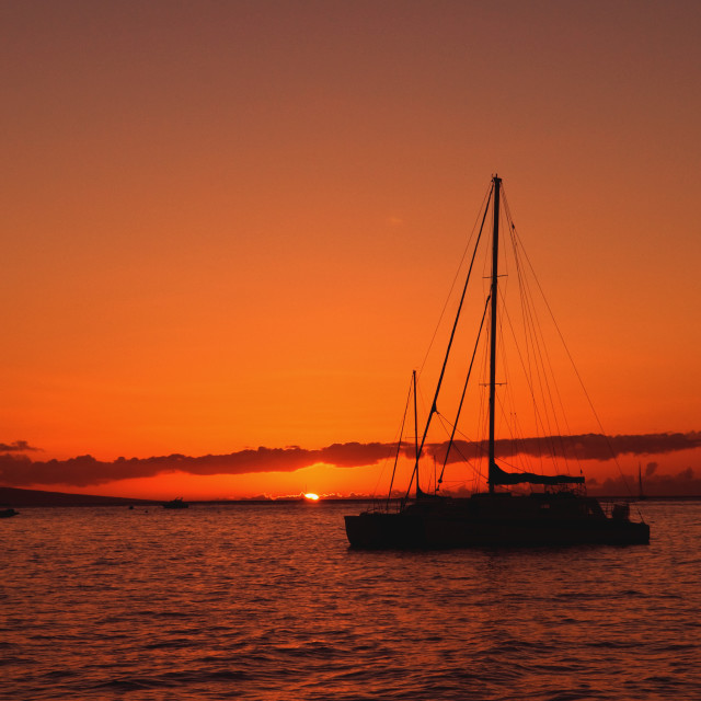 """""""Sailing into the Sunset"""" stock image"""