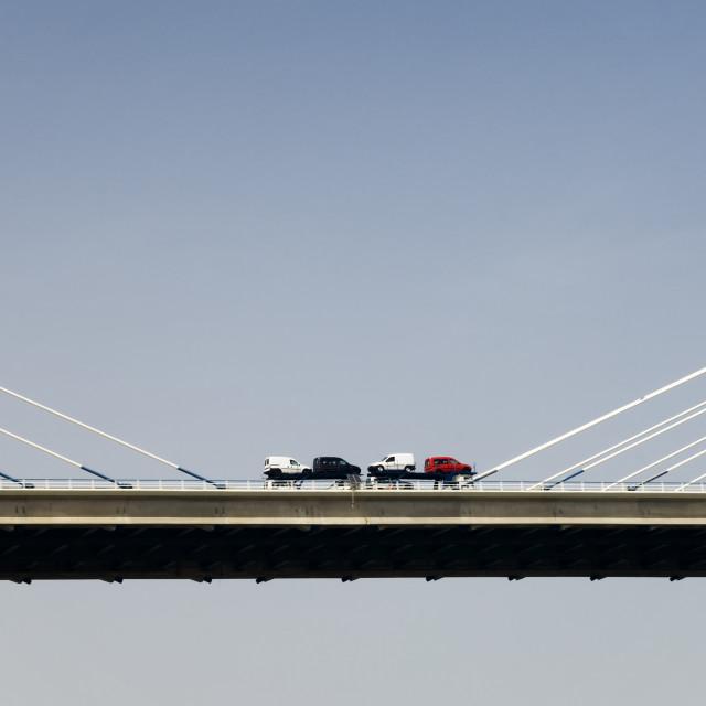 """Cars over the bridge"" stock image"