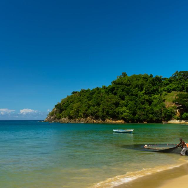 """Fishing at Castara, Tobago"" stock image"