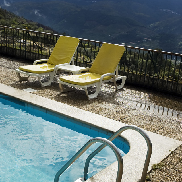 """""""Long chairs by the pool 3"""" stock image"""