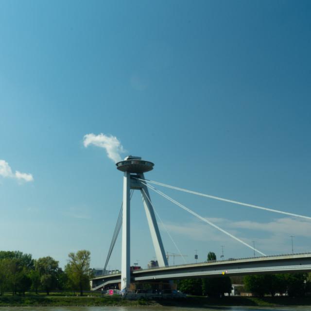 """""""Vyhliadková veža UFO - Bratislava"""" stock image"""
