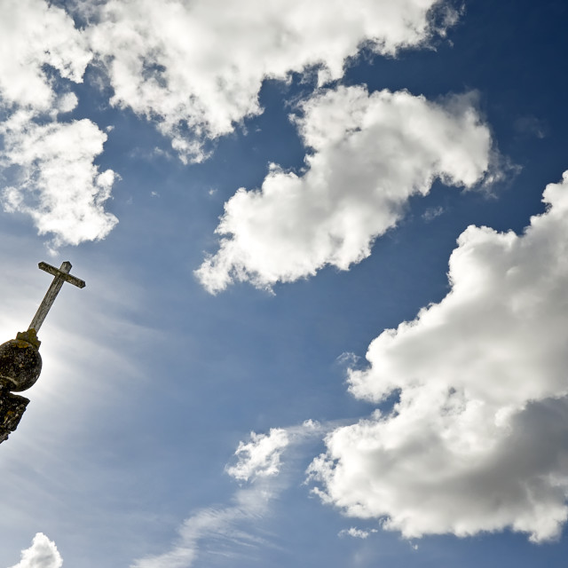 """""""Cross pointing the sky"""" stock image"""