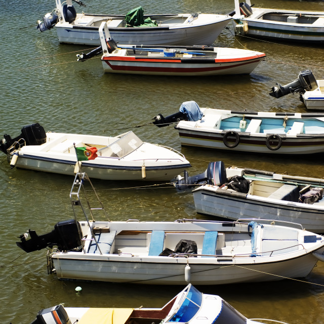 """""""Motorboats moored"""" stock image"""