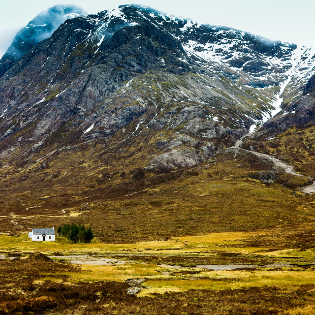 """The little white cottage in Glencoe - Lagangarbh Hut"" stock image"