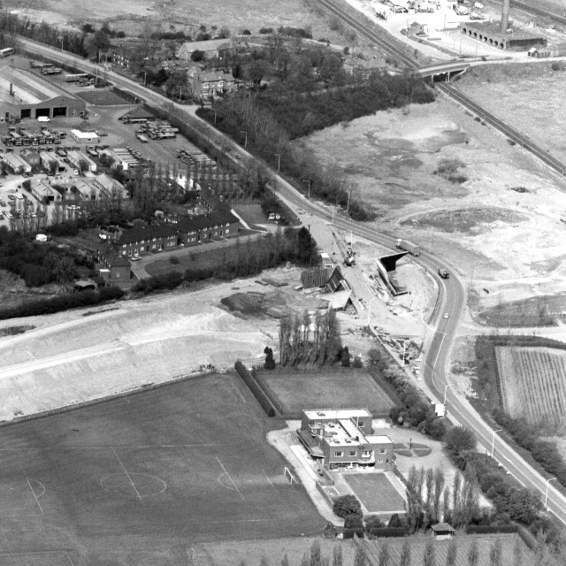 """""""London Road and Phorpres Sports Ground (1982)"""" stock image"""