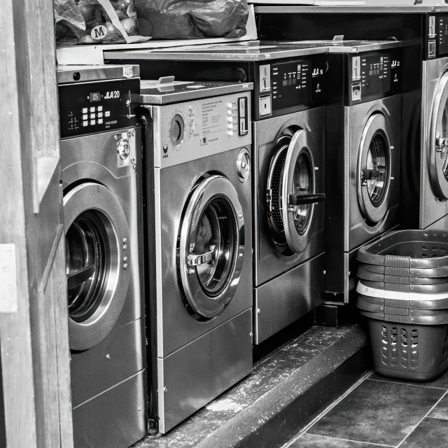 """""""In the laundrette"""" stock image"""