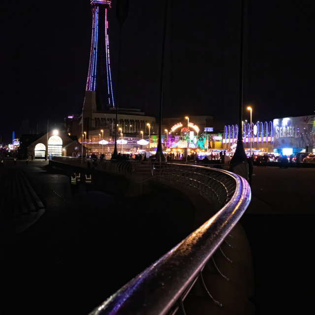 """Blackpool in the rain"" stock image"
