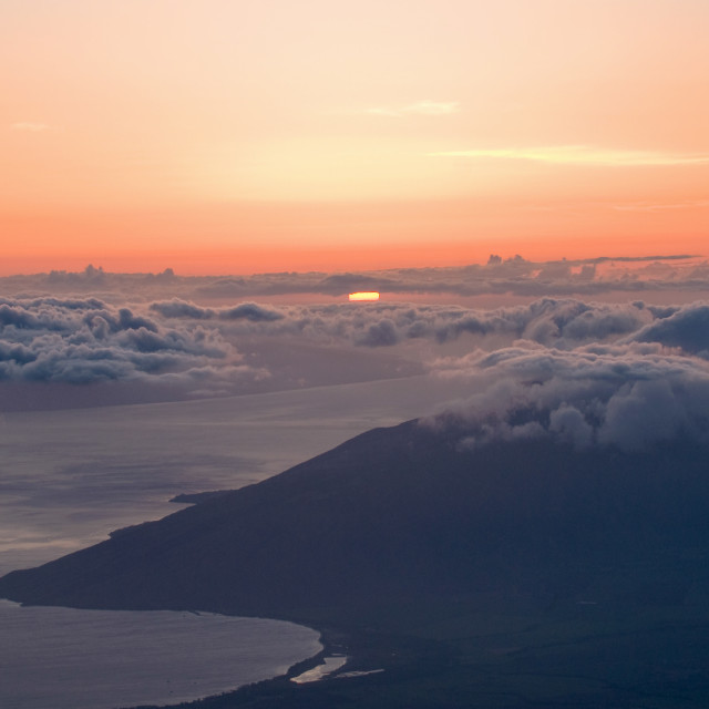 """""""Maui Sunset from above the Clouds"""" stock image"""