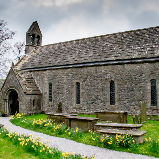 """""""St Mary's Church with churchyard and tombstones, Conistone in Wharfedale"""" stock image"""
