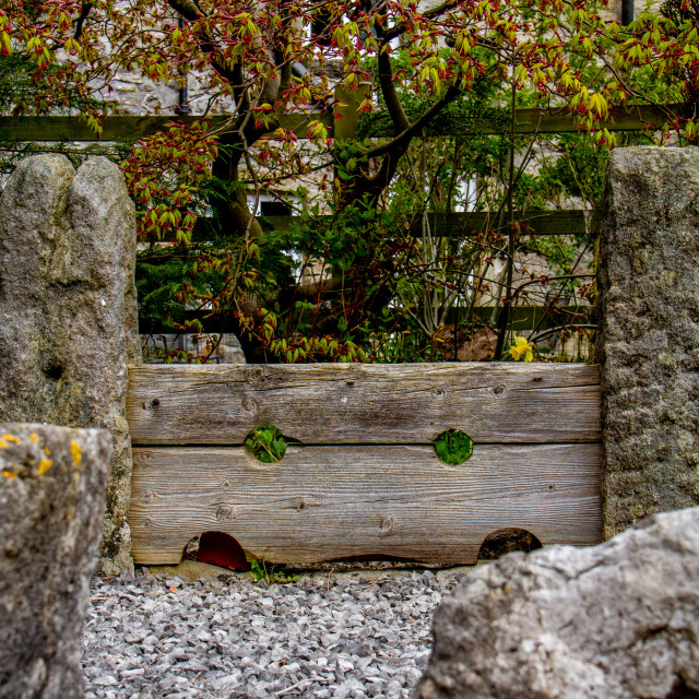 """""""Village Stocks in Kettlewell, Yorkshire Dales"""" stock image"""