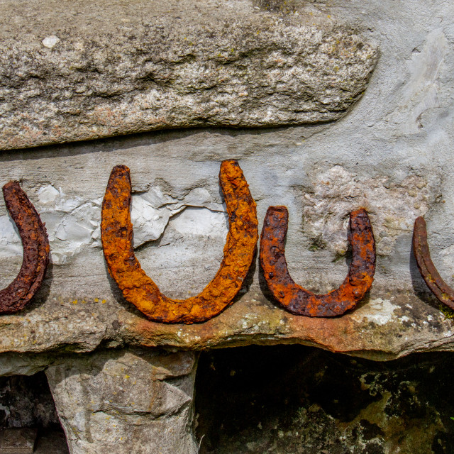 """""""Lucky Horseshoes in Yorkshire Dales Village"""" stock image"""