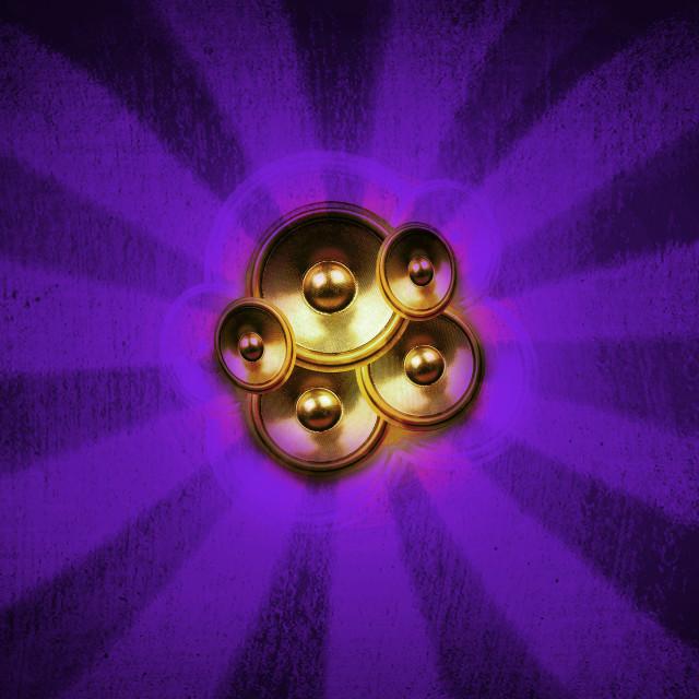 """""""Music speakers and purple sunburst"""" stock image"""