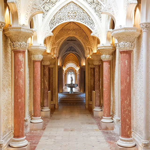 """Elements of interior architecture in palace of Monserrate, Portugal"" stock image"