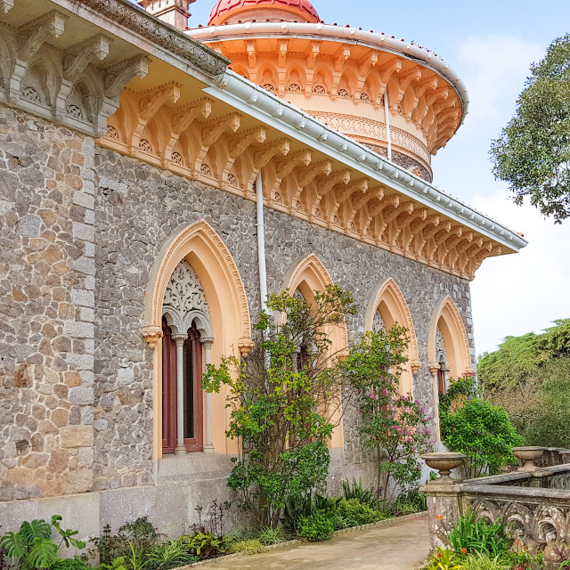 """Closeup of part of Palace of Monserrate, Portugal"" stock image"