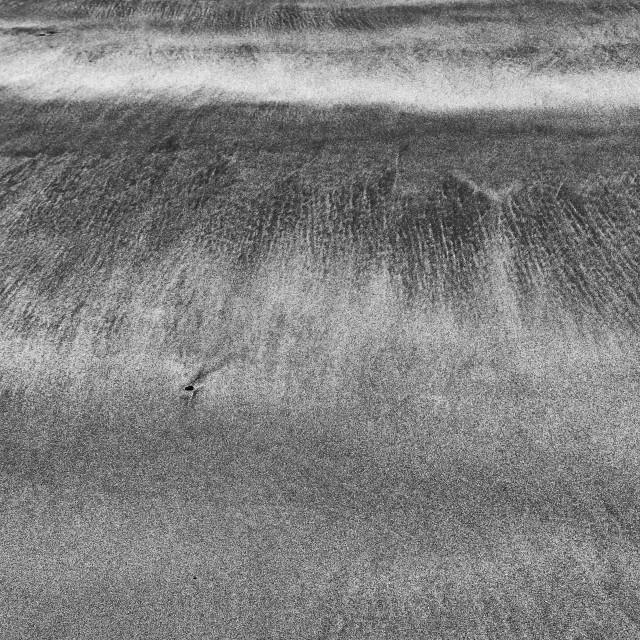 """Sand trails left by the tide (mono)"" stock image"