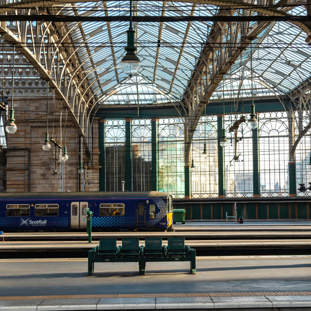 """Trains in the Glass House"" stock image"