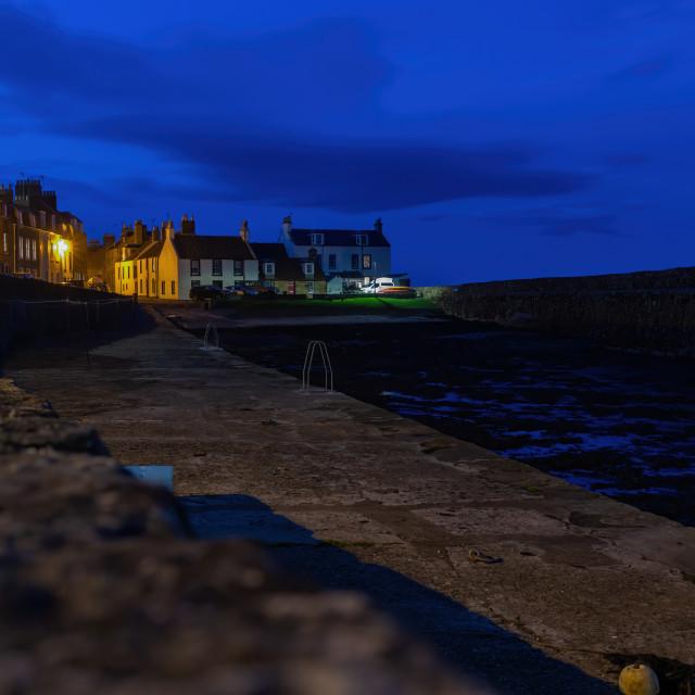 """""""Cellardyke Harbour at Night"""" stock image"""