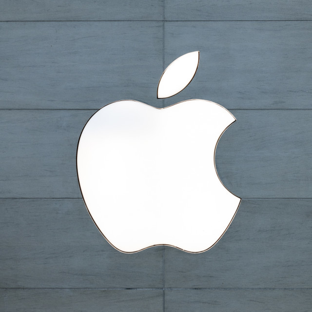 """Apple logo on retail store"" stock image"