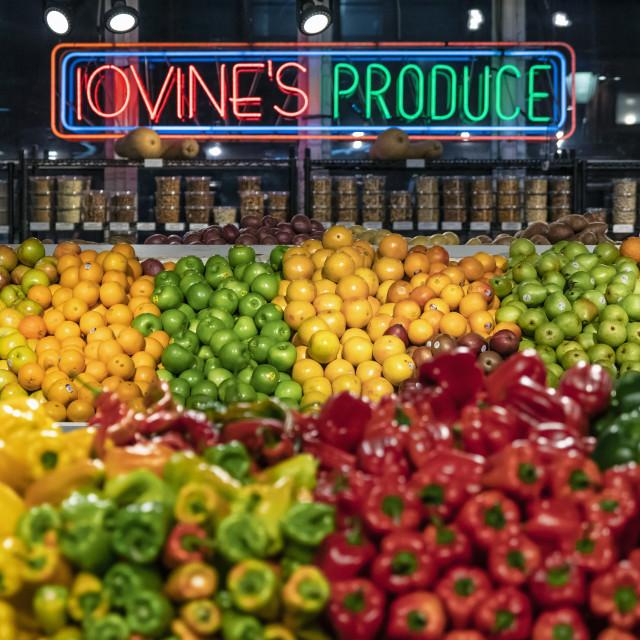 """Fresh produce vendor at the Reading Terminal Market"" stock image"