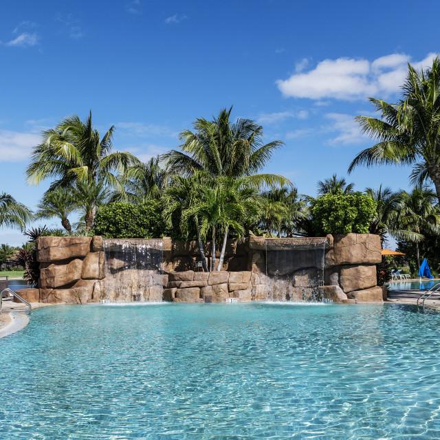 """Swimming pool at the Traviso Bay Resort"" stock image"