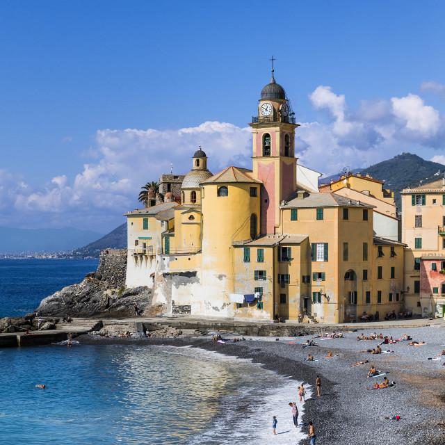 """Santa Maria Assunta basilica and Camogli waterfront"" stock image"