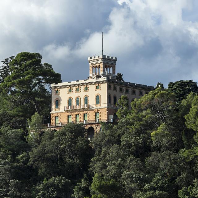 """Coastal hillside home overlooking the Ligurian Sea"" stock image"