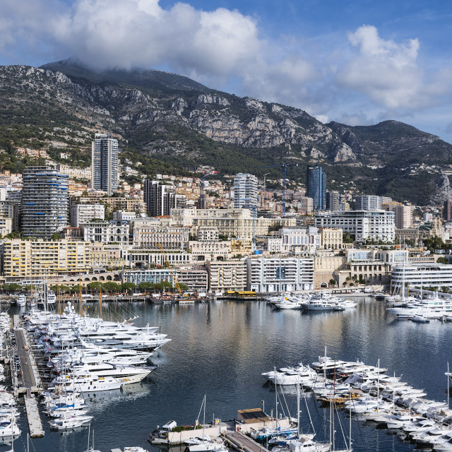 """Panoramic overview of Port Hercule in Monaco"" stock image"