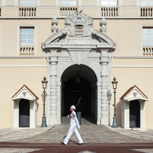 """""""Cerimonial guard at the gate to the Palace of Monaco."""" stock image"""