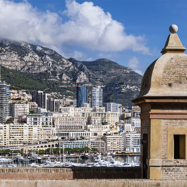 """""""Rampart of the royal palace overlooking Port Hercule"""" stock image"""