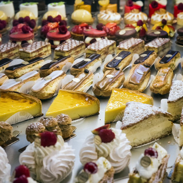 """""""Sweet treats displayed in a French pastery shop."""" stock image"""