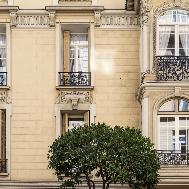 """Apartment building detail in the La Condamine district of Monaco"" stock image"