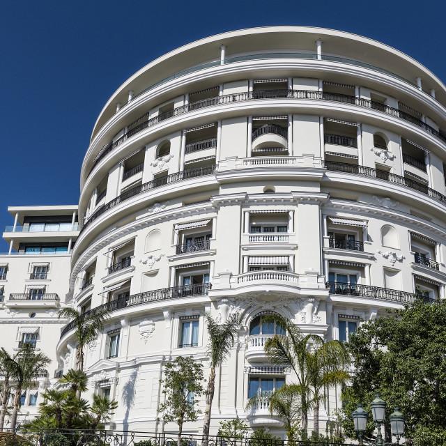 """Exterior detail of Hermitage Hotel in Monaco"" stock image"