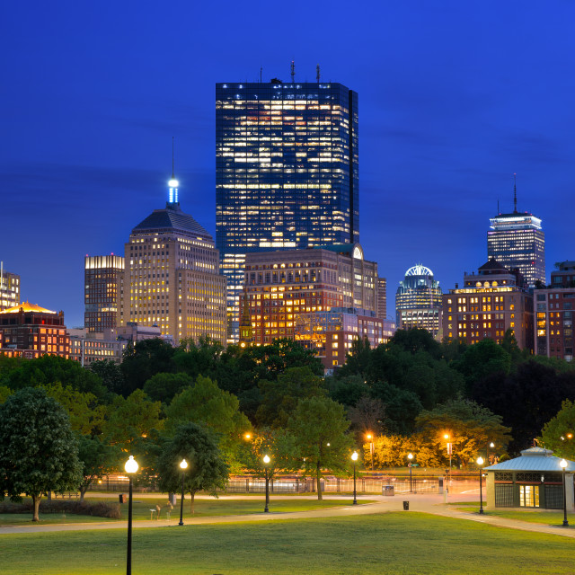 """""""Boston Back Bay Skyline at Blue Hour from the Boston Common Hill"""" stock image"""
