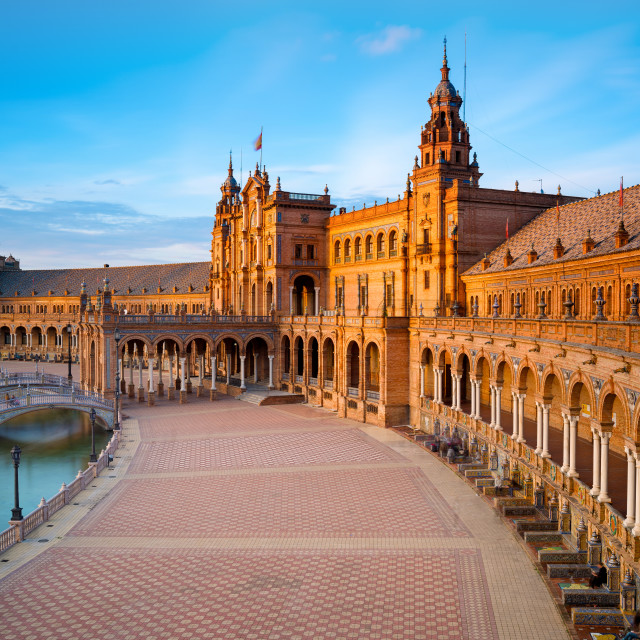 """""""Spain Square in Maria Luisa Park at Sunset, Seville, Andalusia, Spain"""" stock image"""