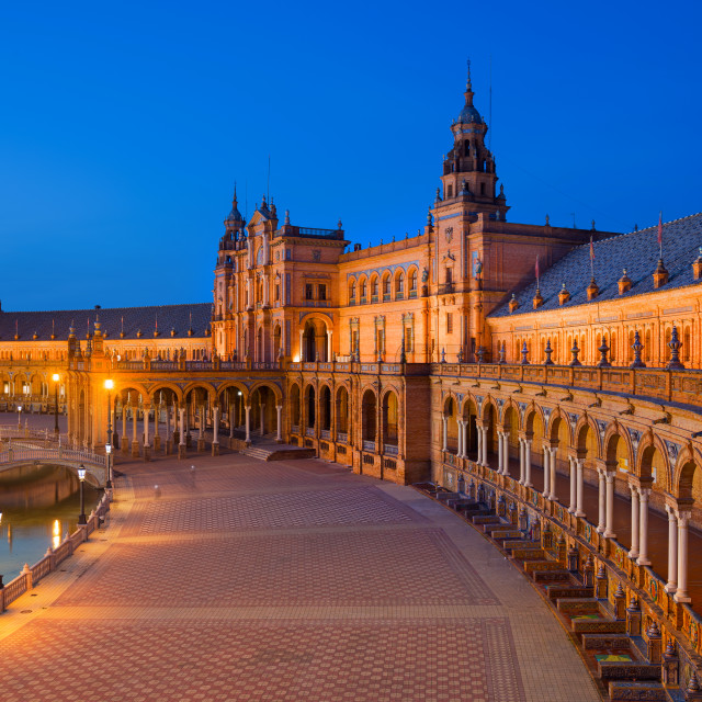 """""""Spain Square in Maria Luisa Park at Dusk, Seville, Andalusia, Spain"""" stock image"""