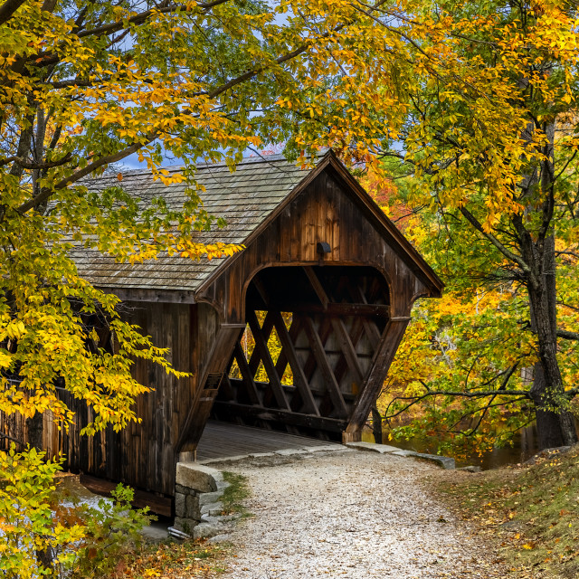 """New England College Covered Bridge, Henniker"" stock image"