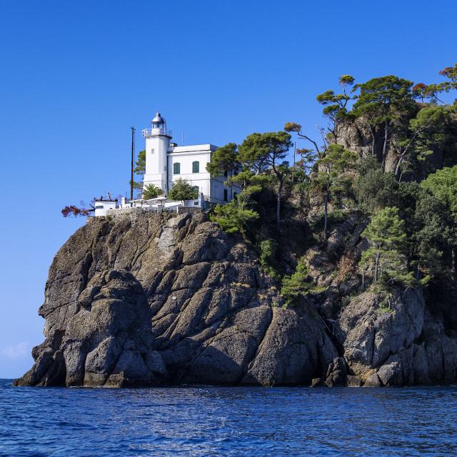 """Lighthouse guiding ships into Portofino harbor"" stock image"