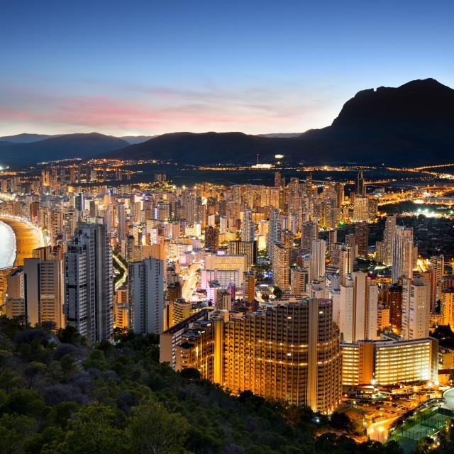 """Benidorm Lights at Sunset, Alicante Province, Spain"" stock image"