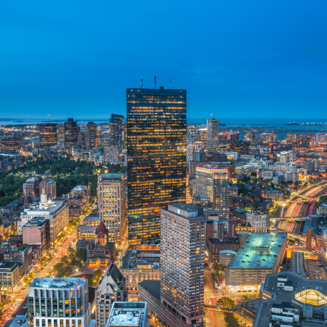 """Cityscape at the blue hour, Boston, Massachusetts, USA"" stock image"