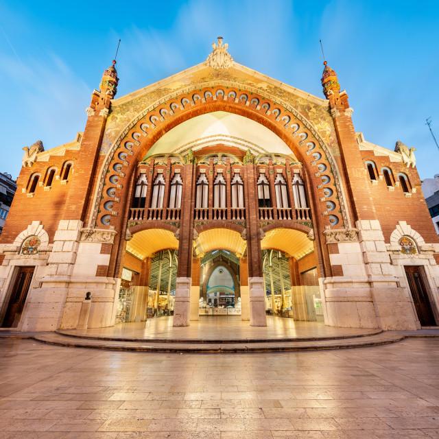 """The majestic facade of the Colon Market, Valencia, Spain"" stock image"