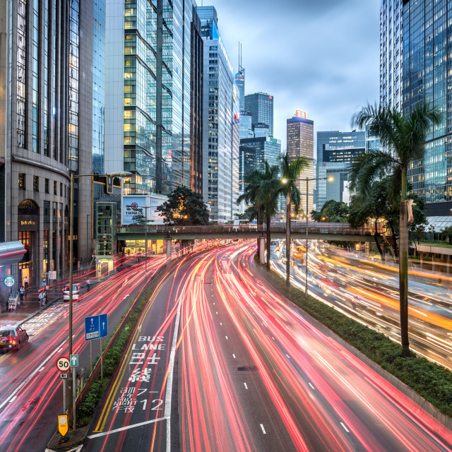 """""""Hong Kong skyline with traffic and skyscrapers of the central district"""" stock image"""